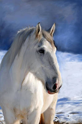 Wild Horse Painting - Horse In Winter Landscape by Enzie Shahmiri