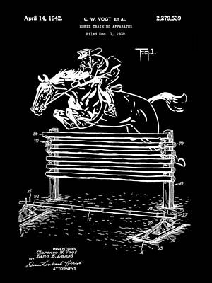 Eventing Digital Art - Horse Jump Patent 1939 - Black by Stephen Younts