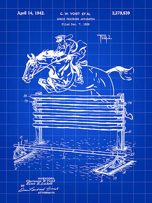 Eventing Digital Art - Horse Jump Patent 1939 - Blue by Stephen Younts