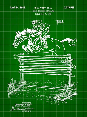 Eventing Digital Art - Horse Jump Patent 1939 - Green by Stephen Younts