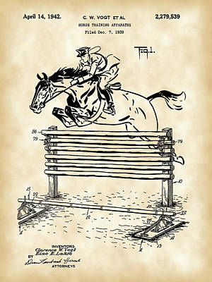 Eventing Digital Art - Horse Jump Patent 1939 - Vintage by Stephen Younts