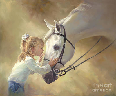 Of Children Painting - Horse Kisses by Laurie Hein