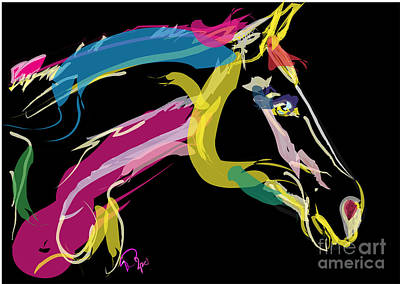 Portrait Art Painting - Horse- Lovely Colours by Go Van Kampen