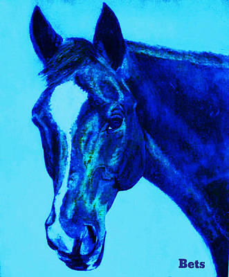 Horse Art Painting - Horse Maduro Blue by Bets Klieger
