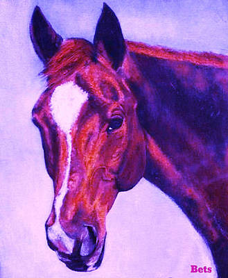 Horse Painting - Horse Maduro Pink And Purple by Bets Klieger