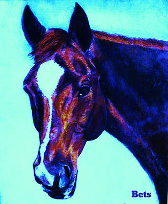 Horse Painting - Horse Maduro Striking Purple by Bets Klieger