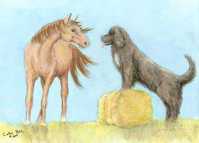 Newfie Painting - Horse Newfoundland Dog Play Farm Ranch Cathy Peek Art by Cathy Peek