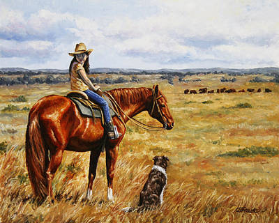Cowgirl Painting - Horse Painting - Waiting For Dad by Crista Forest