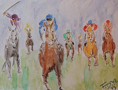 Kentucky Derby Mixed Media - Horse Race by Frank Middleton