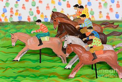 Papercut Painting - Horse Race by Grigorios Moraitis