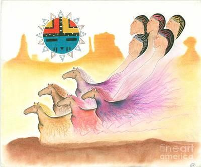 Hopi Drawing - Horse Spirits by Peace Monger