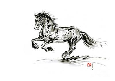 Horse Stallion Black Wild Animal 2014 Year Ink Painting Original by Mariusz Szmerdt