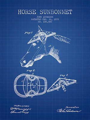 Horse Sunbonnet Patent From 1870 - Blueprint Print by Aged Pixel