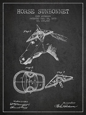 Horse Sunbonnet Patent From 1870 - Charcoal Print by Aged Pixel