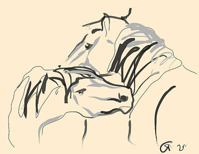 Horse - Together 4 Print by Go Van Kampen