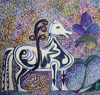 Egg Tempera Painting - Horse Totem by Catherine Meyers