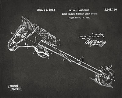 Horse Toy Patent Artwork 1953 - Gray Print by Nikki Marie Smith
