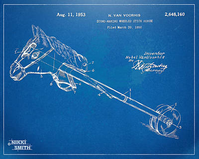Horse Toy Patent Artwork 1953 Print by Nikki Marie Smith