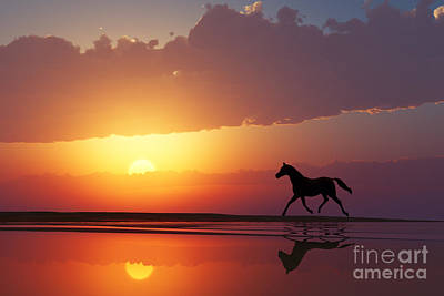 Cloudscape Digital Art - Horse Walk Silhouette by Aleksey Tugolukov