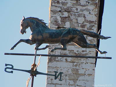 Horse Weathervane And Chimney Print by Kathy Barney