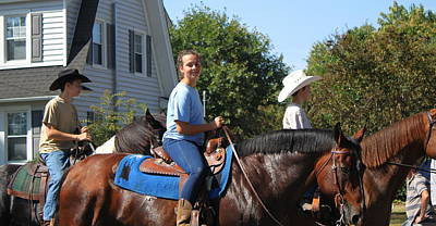 Horseback Riders Print by Carolyn Ricks