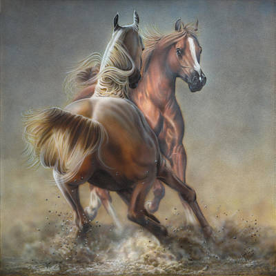 Earth Tones Painting - Horseplay by Wayne Pruse