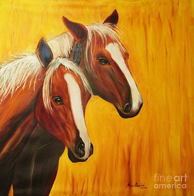 Pony Drawing - Horses by Anastasis  Anastasi