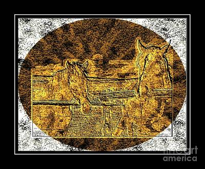 Brass Etching Photograph - Horses -  Brass Etching by Barbara Griffin