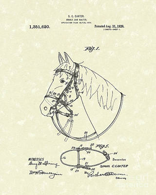 Halter Drawing - Horse's Bridle 1920 Patent Art by Prior Art Design