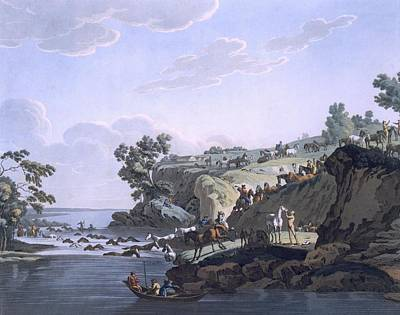 Horses Crossing A River, 1812-13 Print by E. Karnejeff