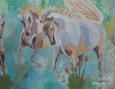 Horses From Camargue 2 Print by Vicky Tarcau