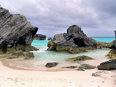 Horseshoe Beach In Bermuda Print by Janice Drew