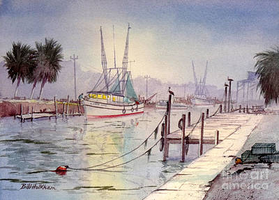 Shrimp Boat Painting - Horseshoe Beach Lights At Sunset by Bill Holkham