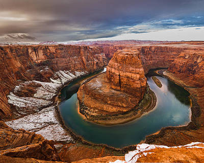 Horseshoe Bend In Snow  Print by Michael Flaherty