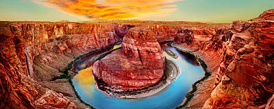 Navajo Photograph - Horseshoe Bend Sunset by Az Jackson