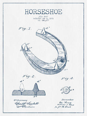 Horseshoe Patent Drawing From 1881- Blue Ink Print by Aged Pixel
