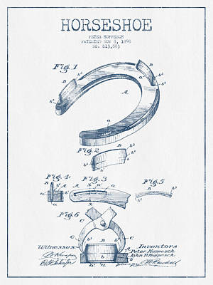 Horseshoe Patent Drawing From 1898- Blue Ink Print by Aged Pixel