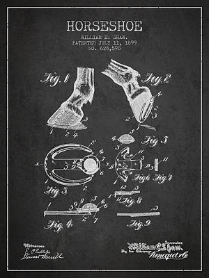 Horseshoe Patent From 1899 - Charcoal Print by Aged Pixel