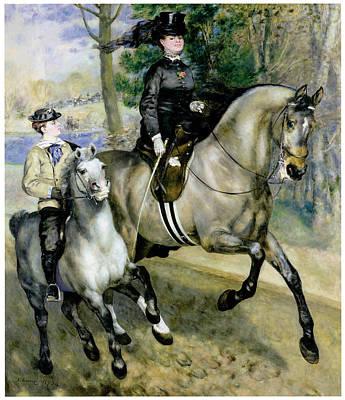 Women On Horses Painting - Horsewoman In The Bois De Boulgne by Pierre Auguste Renoir