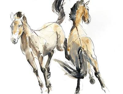 Horsing, 2013 Watercolour And Pigment On Paper Print by Mark Adlington
