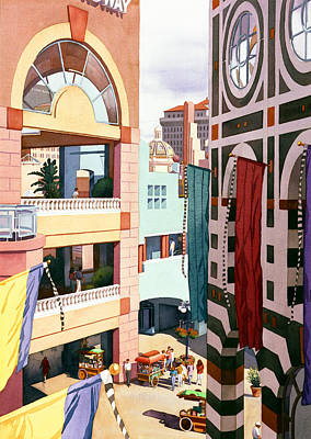 Center Painting - Horton Plaza San Diego by Mary Helmreich