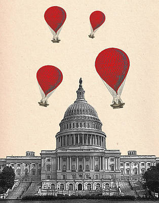 Capitol Building Digital Art - Hot Air Balloon Red Us Capitol Building by Kelly McLaughlan