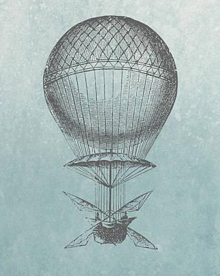 Hot-air Balloon - Retro Design Print by World Art Prints And Designs