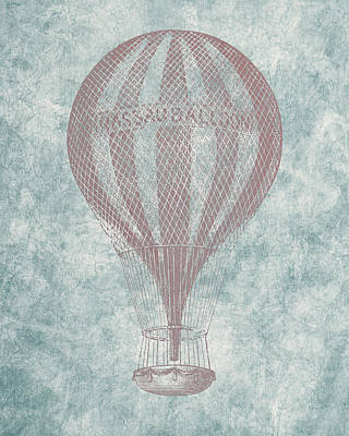 Hot Air Balloon - Vintage Drawing Print by World Art Prints And Designs