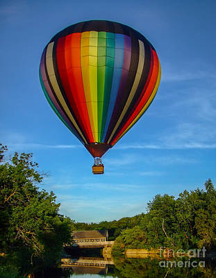Covered Bridge Photograph - Hot Air Balloon Woodstock Vermont by Edward Fielding