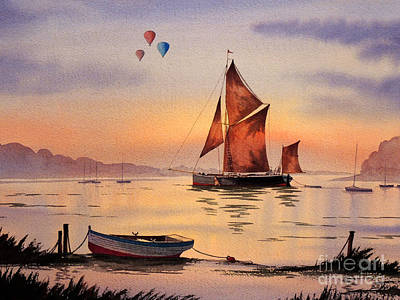 Branson Painting - Hot Air Ballooning by Bill Holkham