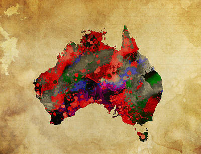 Koala Digital Art - Hot Australia Map by Daniel Hagerman