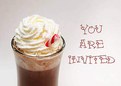 Invitations Digital Art - Hot Chocolate And Whipped Cream Invitation by Andee Design