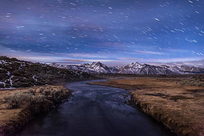 Hot Creek Star Trails Print by Cat Connor