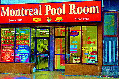 Montreal Memories Painting - Hot Dogs Et Frites Montreal Pool Room Famous Hot Dog Shrine Urban Eateries Fast Food Scenes Cspandau by Carole Spandau